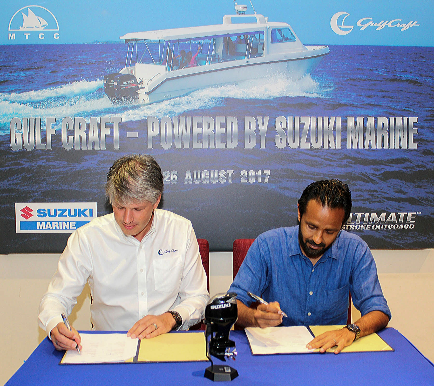 Gulf Craft CEO Erwin Bamps signs agreement with Ibrahim Ziyath, CEO of the Maldives Transport and Contracting Company, (MTCC)