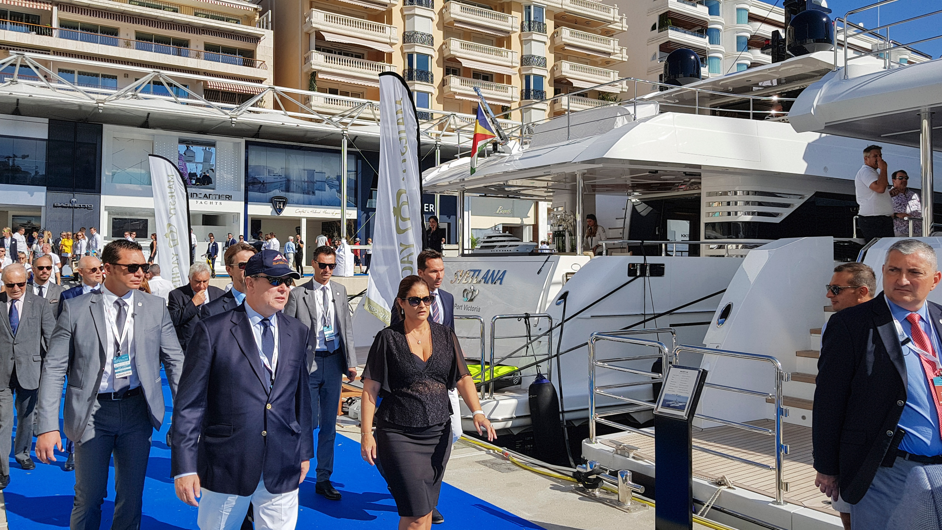 HRH Prince Albert II as he passes by Gulf Craft's superyachts in Monaco Yacht Show 2018