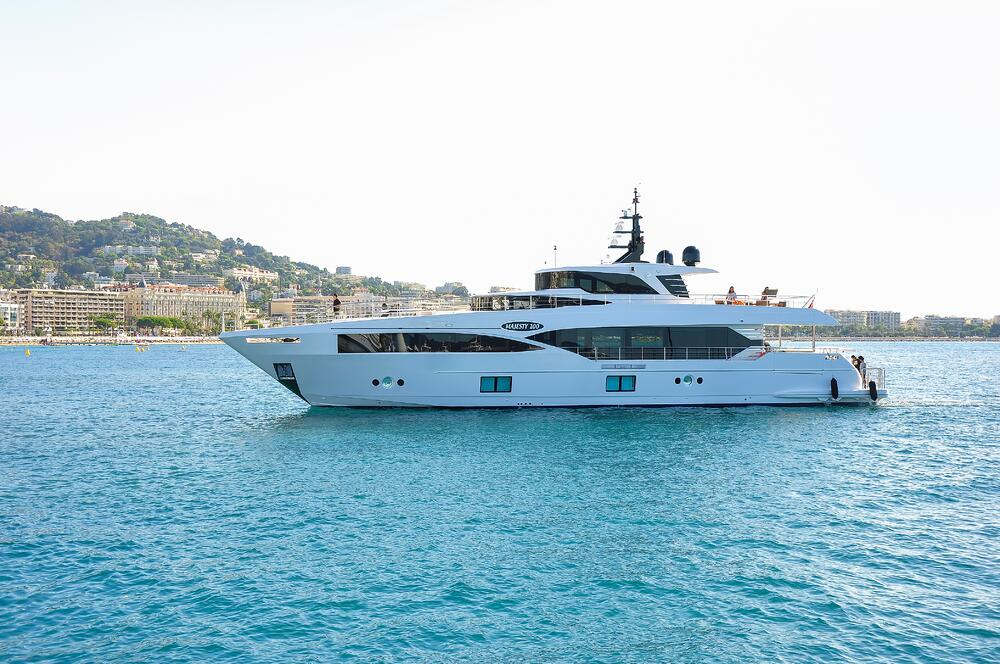 Majesty 100 as it enters Cannes Yachting Festival