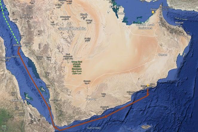 Nomad 75 SUV Dubai Moon route from Salalah, Oman to Jeddah, Saudi Arabia