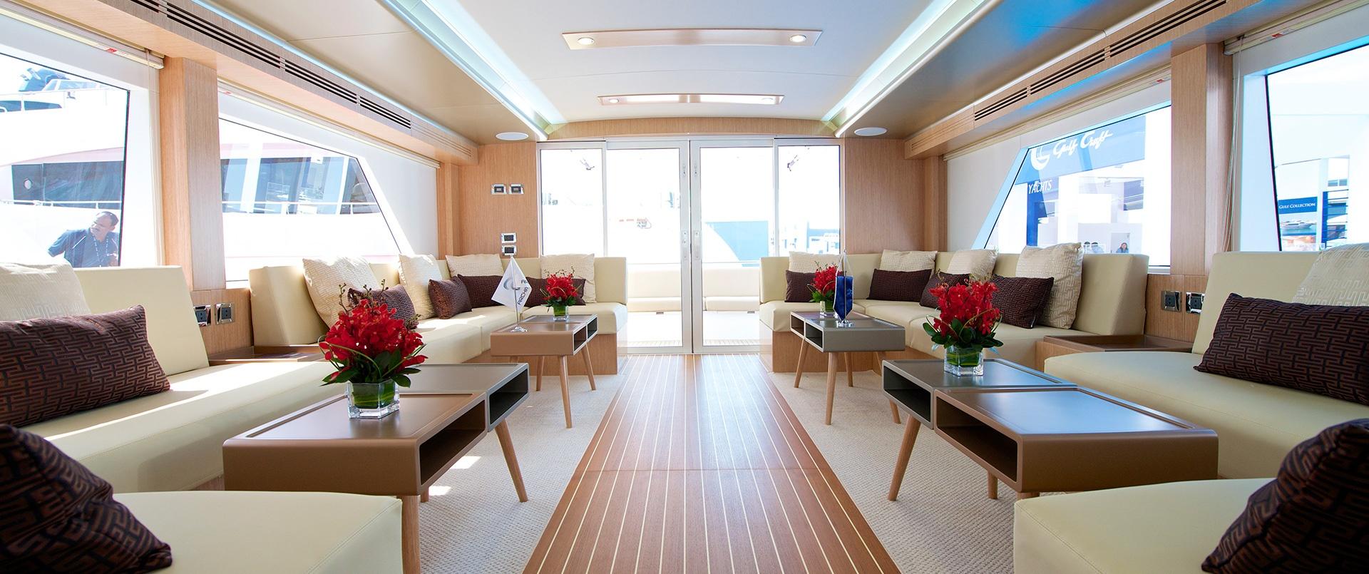 Saloon aboard the Waveshuttle 56 by Gulf Craft