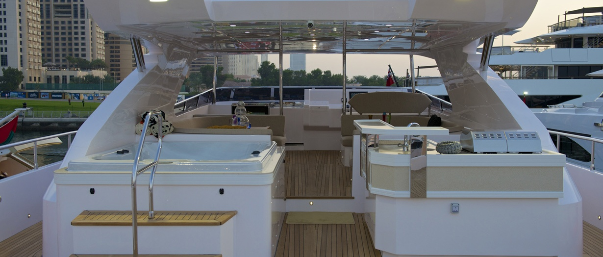 The fly-bridge aboard Majesty 105 by Gulf Craft
