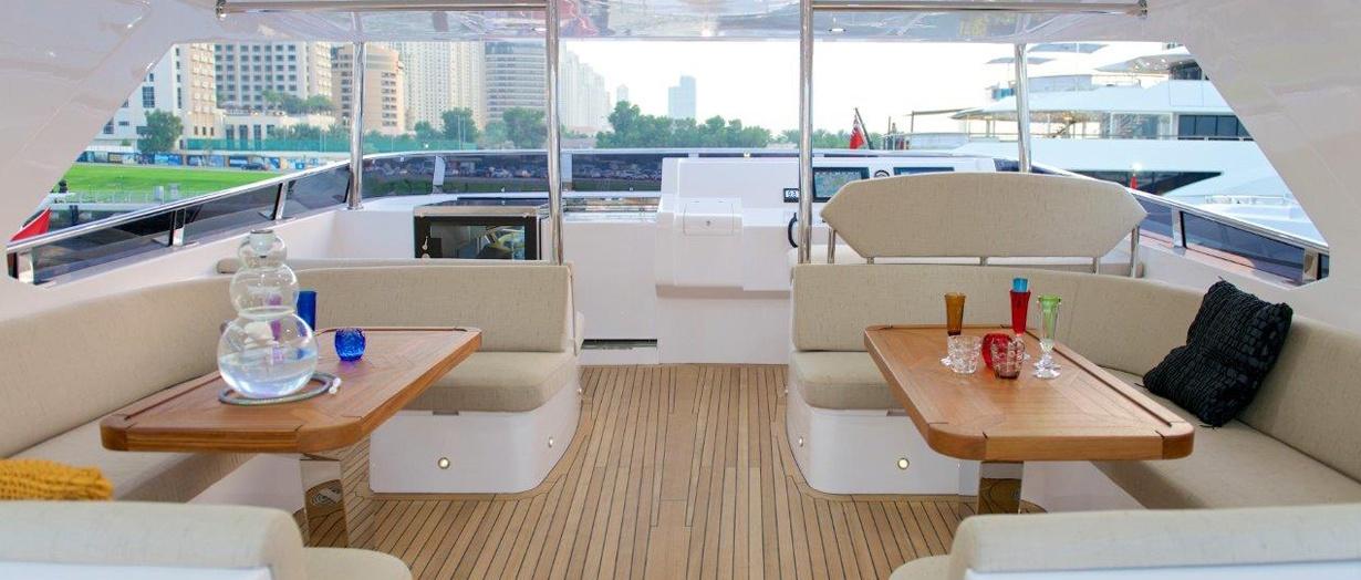 Fly-bridge seating area aboard Majesty 105, Gulf Craft