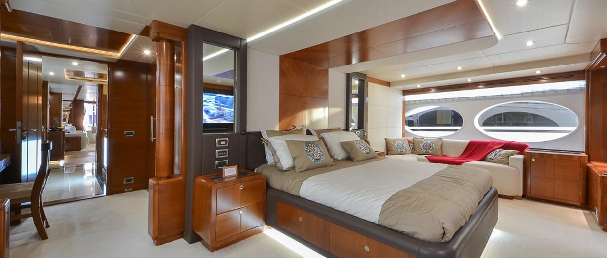 Owner's stateroom aboard Majesty 105 by Gulf Craft, UAE