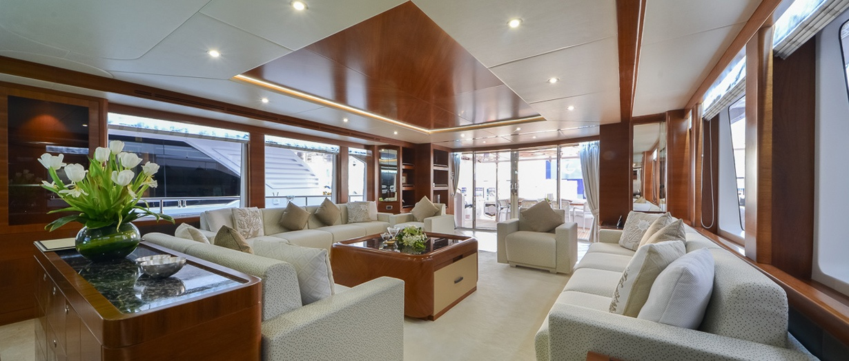 The saloon on the awesome Majesty 105 by Gulf Craft, UAE