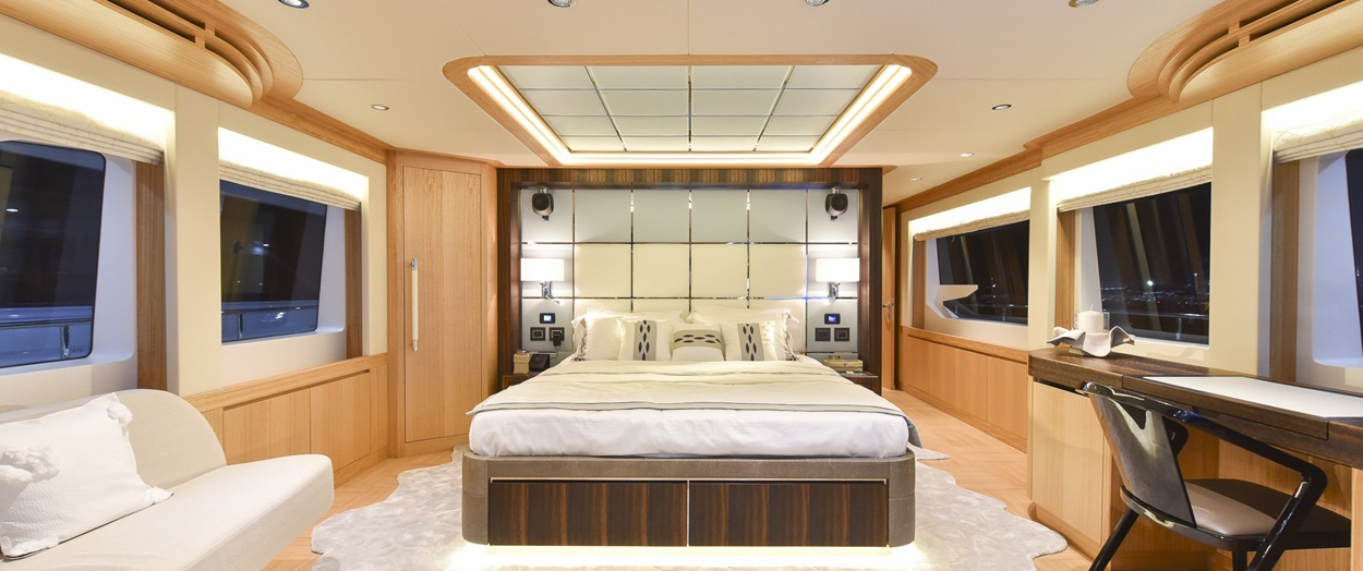 Main bedroom on the Majesty 110, Gulf Craft, United Arab Emirates