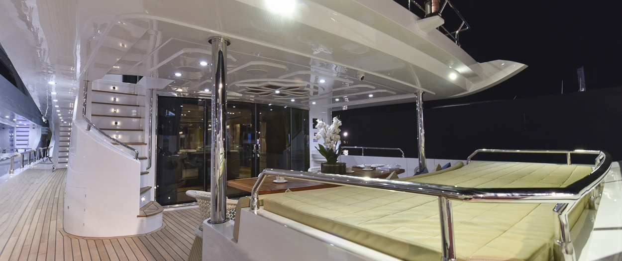Rear seating area aboard Majesty 110 by Gulf Craft, UAE