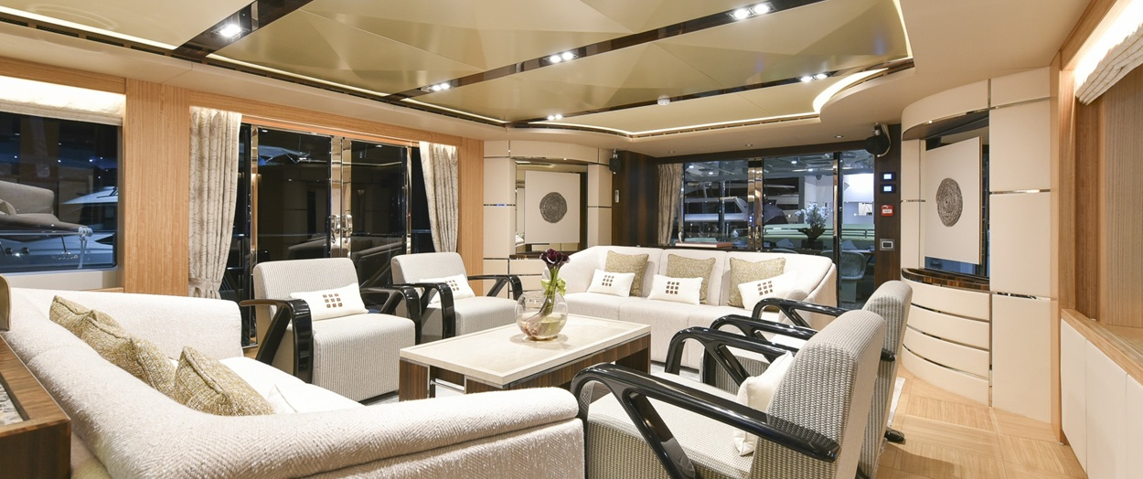 Main saloon aboard Majesty 110 by Gulf Craft, UAE