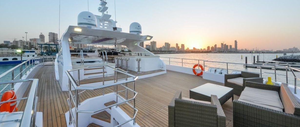 The fly-bridge aboard Majesty 122 by Gulf Craft, UAE