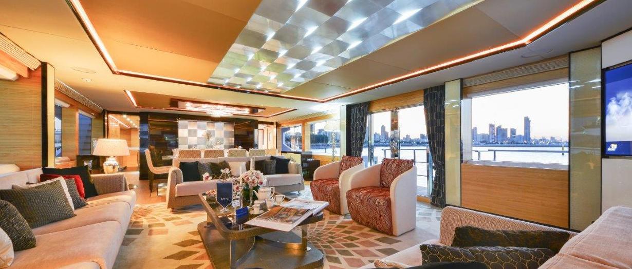 Saloon area aboard Majesty 122 by Gulf Craft, United Arab Emirates