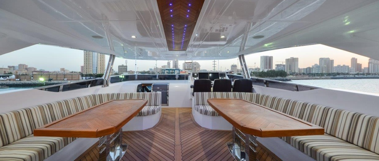 Seating area on the Majesty 122 by Gulf Craft, UAE