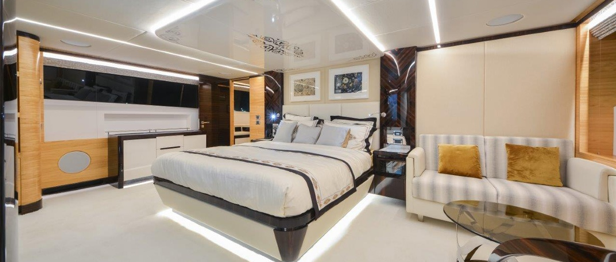 The stateroom aboard the Majesty 122 superyacht by Gulf Craft, UAE