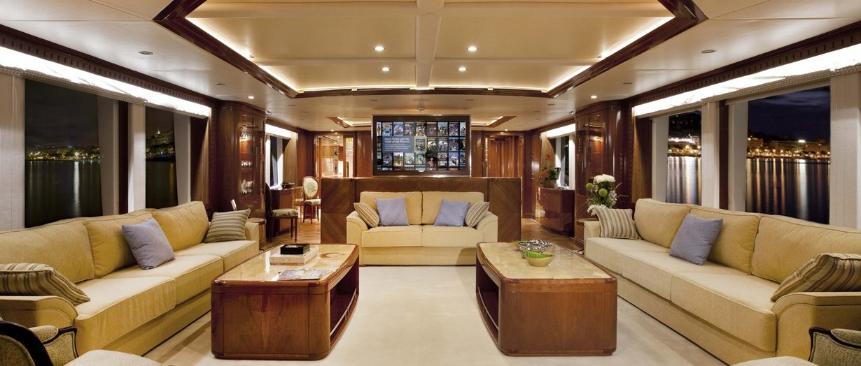 Main saloon on the awesome Majesty 125 by Gulf Craft, UAE