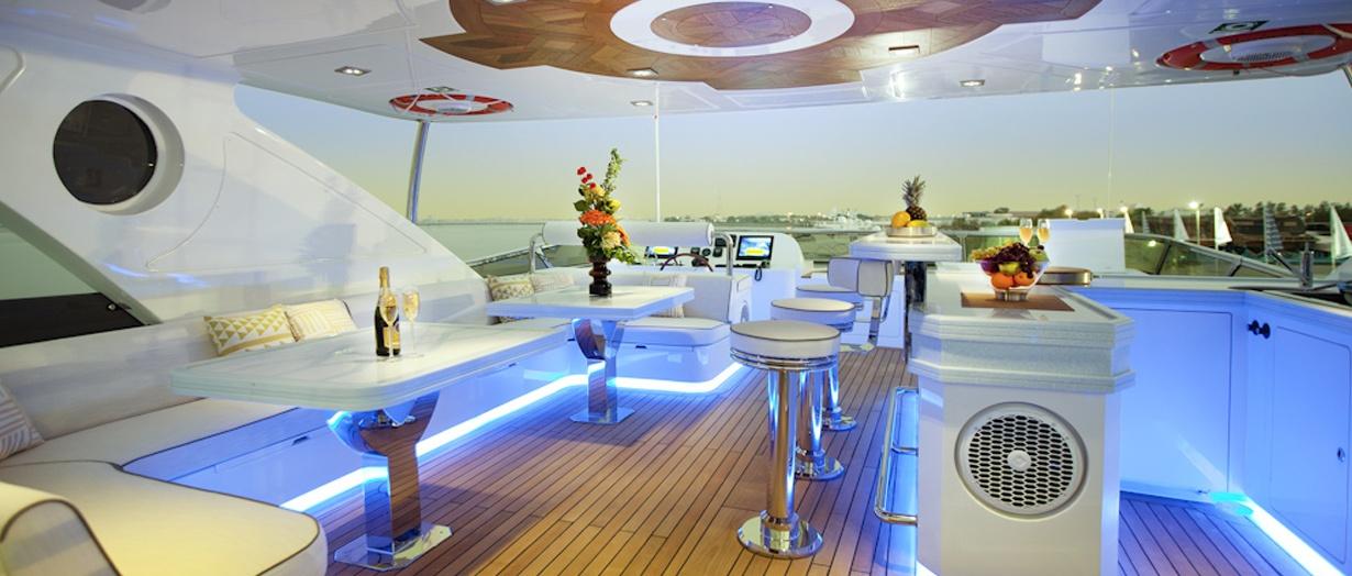 Fly-bridge aboard the Majesty 125 by Gulf Craft, UAE