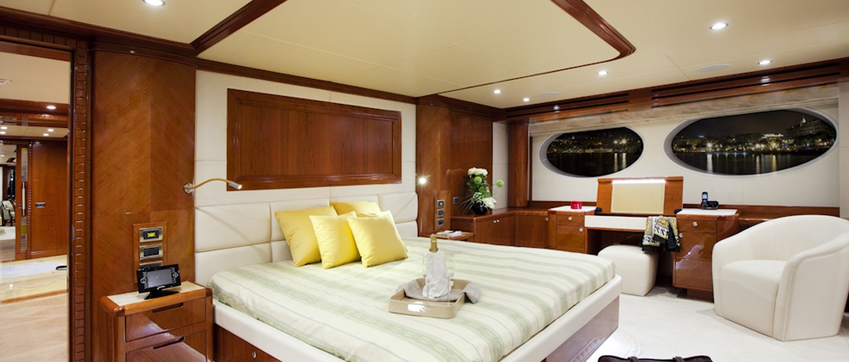The luxurious stateroom aboard the Majesty 125, Gulf Craft, UAE