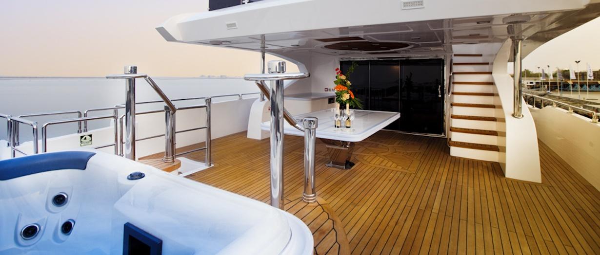 Upper deck aboard the Majesty 125 by Gulf Craft, UAE