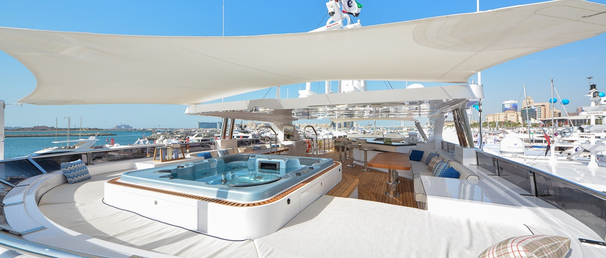 The fly-bridge and jacuzzi aboard the Majesty 155 by Gulf Craft, UAE