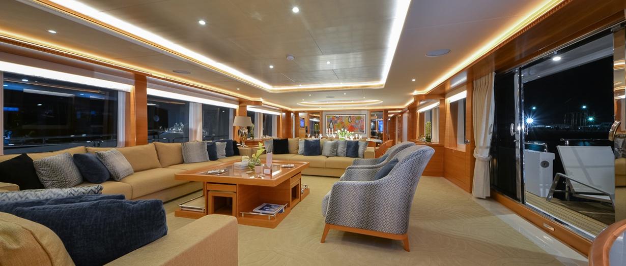 Main saloon aboard the Majesty 135, Gulf Craft, United Arab Emirates