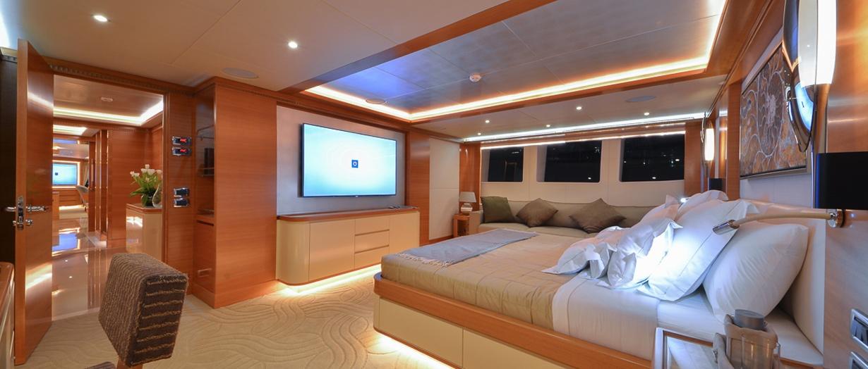 The VIP stateroom aboard the Majesty 135, Gulf Craft, UAE