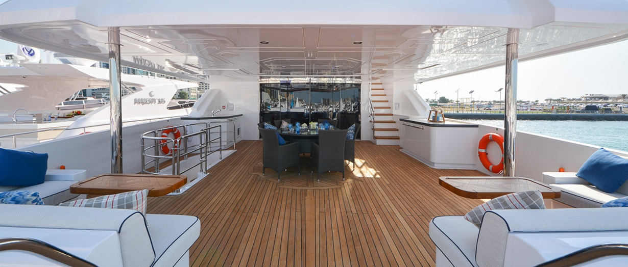 Upper deck aboard the Majesty 135 by Gulf Craft, UAE