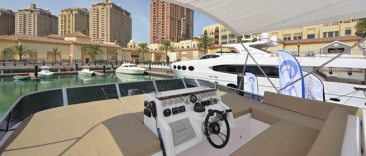 Fly-bridge aboard the Majesty 48 by Gulf Craft, UAE