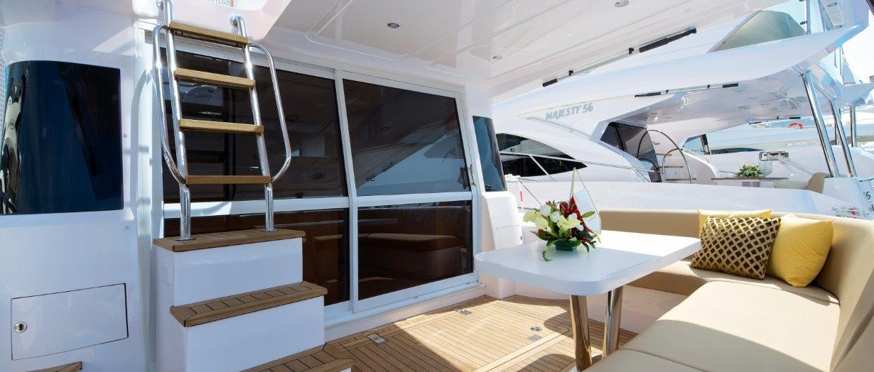 Outdoor seating on Majesty 48 by Gulf Craft, UAE