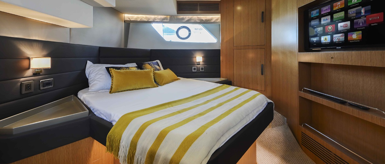Owner's cabin on the Majesty 48, Gulf Craft, UAE