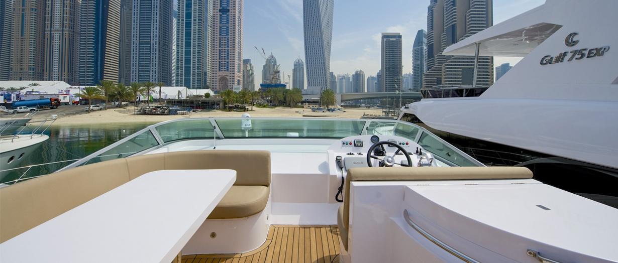 Fly-bridge aboard the Majesty 56 by Gulf Craft, United Arab Emirates