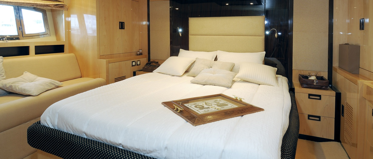 Owner's cabin on the Majesty 56 by Gulf Craft