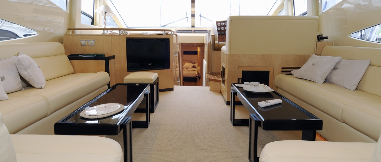 The saloon aboard the Majesty 56, Gulf Craft, UAE