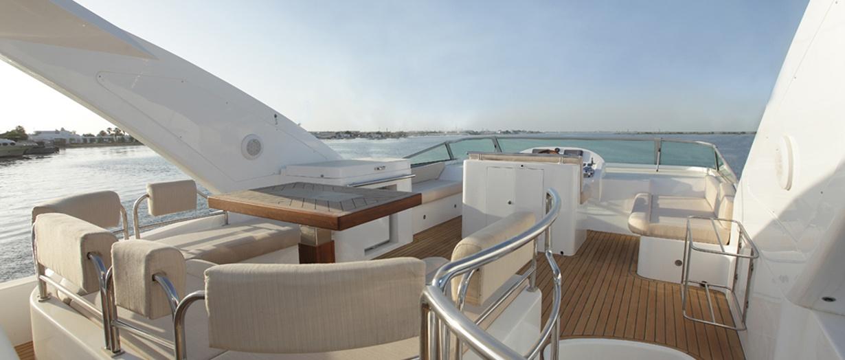 Fly-bridge aboard the Majesty 63 by Gulf Craft, UAE