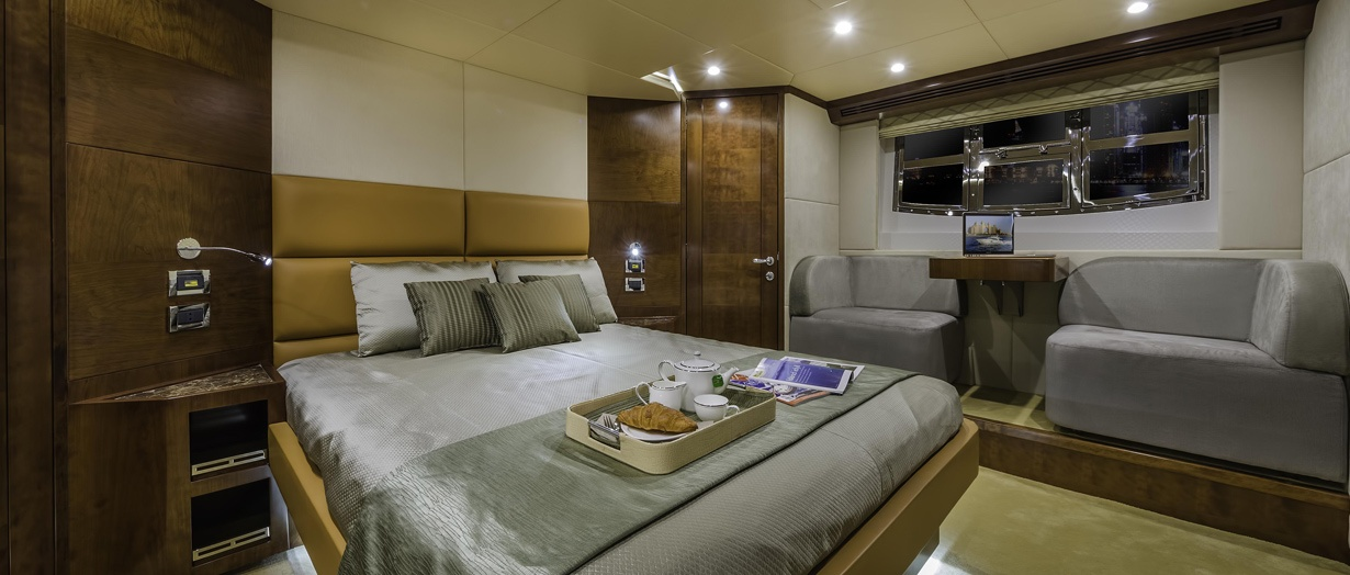 The owner's stateroom on the Majesty 70 by Gulf Craft, UAE