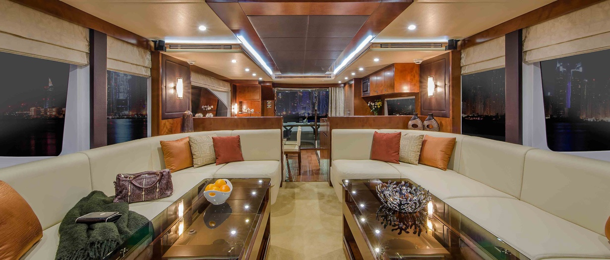 The main saloon aboard the Majesty 70 by Gulf Craft, UAE