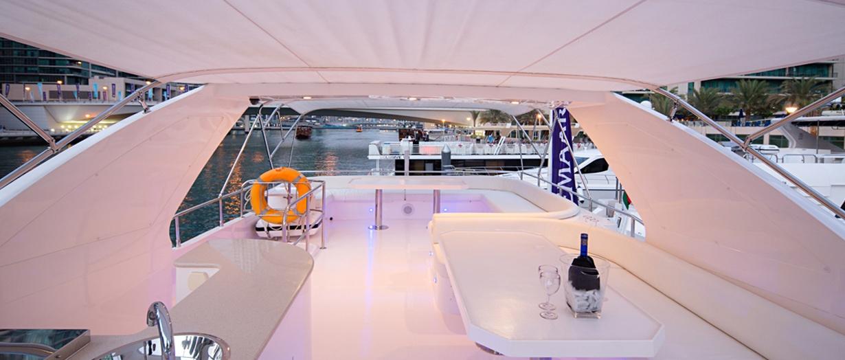 The fly-bridge aboard the Majesty 77 by Gulf Craft, UAE