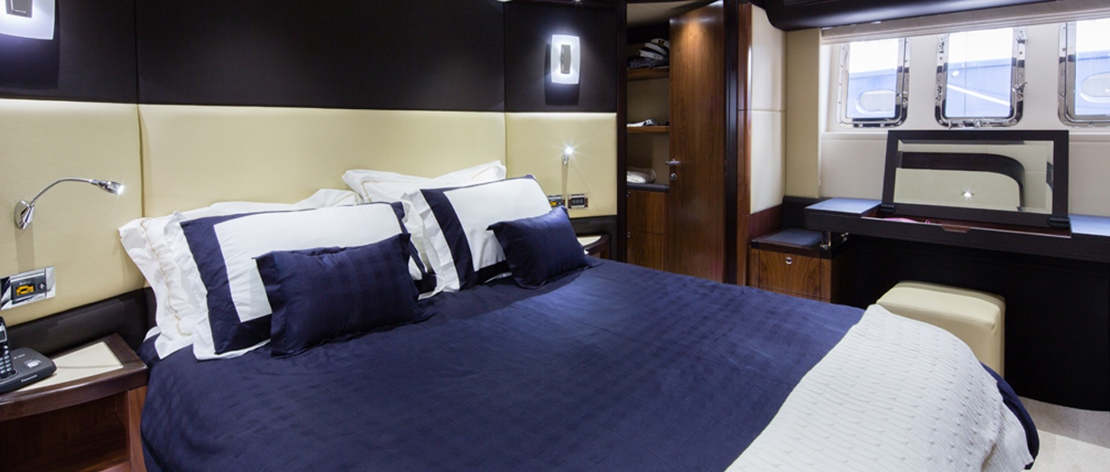 Owner's Stateroom on the Majesty 77 by Gulf Craft
