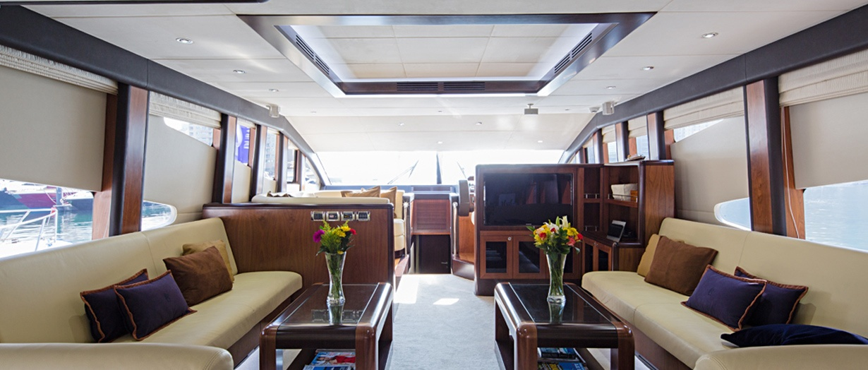 The main saloon aboard the Majesty 77