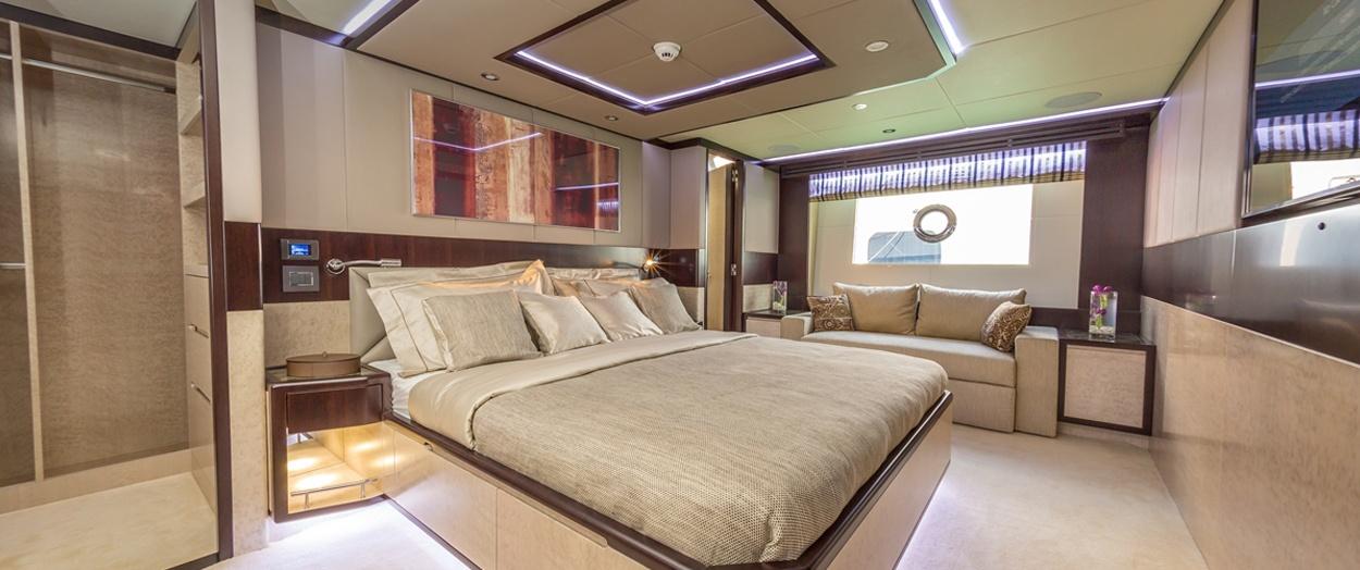 Main bedroom aboard the Majesty 90, Gulf Craft, UAE