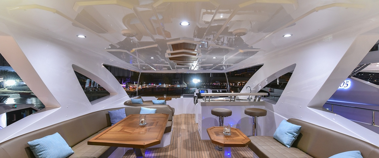 The exterior of the luxurious Majesty 90 by Gulf Craft, UAE