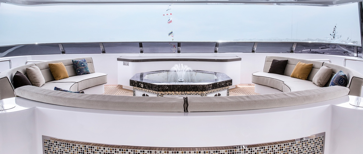 Waterfountain on the Majesty 155 by Gulf Craft, UAE