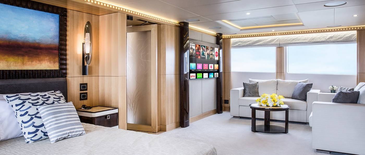 Large bedroom aboard the Majesty 155 by Gulf Craft, UAE