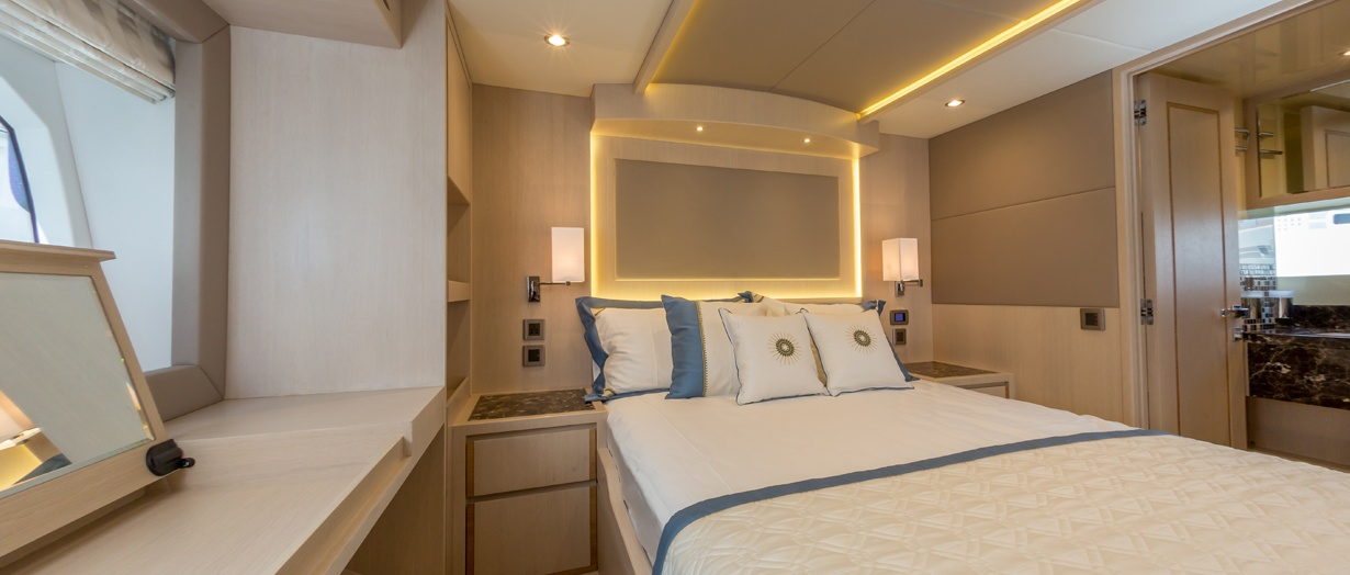 Owner's cabin aboard the Nomad 55, Gulf Craft