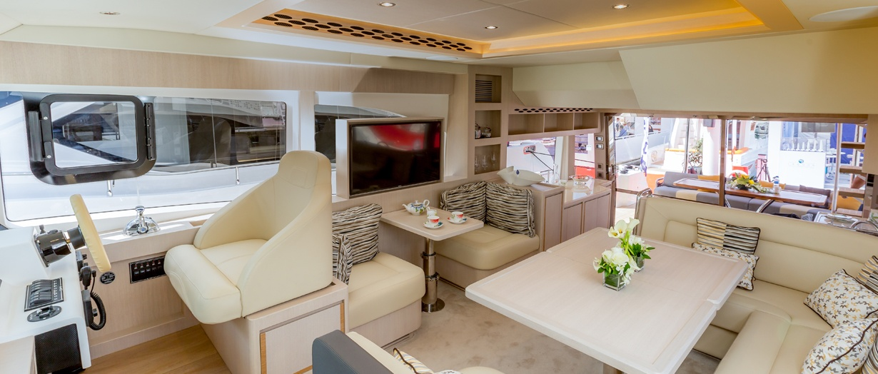 Main saloon aboard the Nomad 55 by Gulf Craft, United Arab Emirates