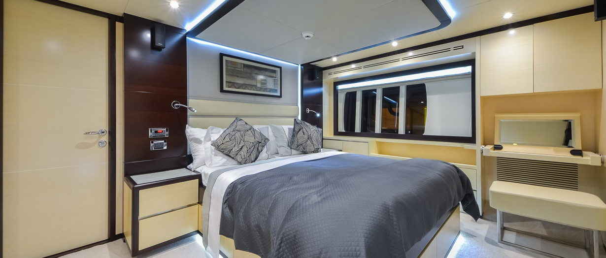 Owner's stateroom aboard the Nomad 75 by Gulf Craft, UAE