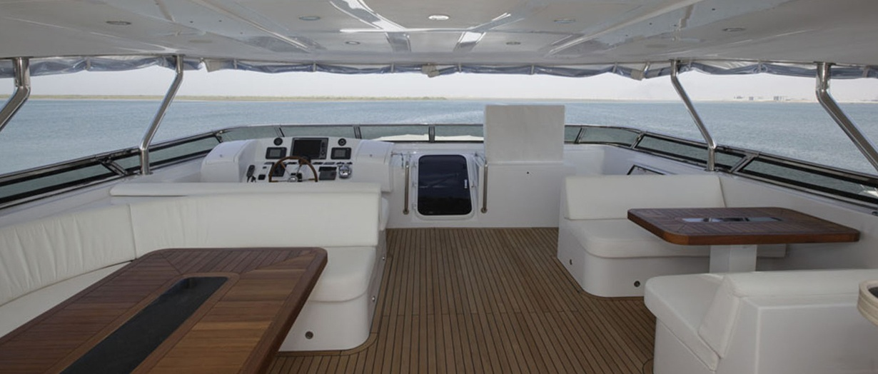 The fly-bridge aboard Gulf Craft's Nomad 95