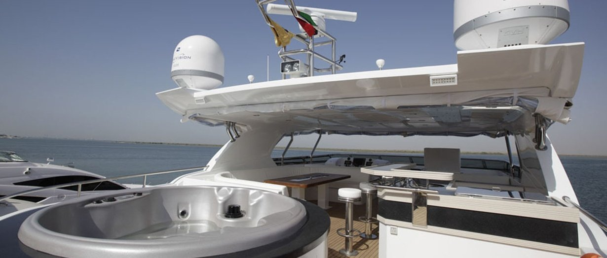 Fly-bridge aboard the Nomad 95 by Gulf Craft, UAE