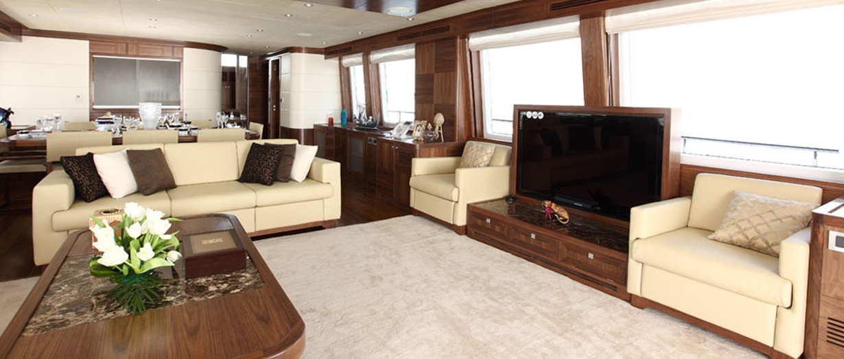Main saloon aboard the Nomad 95 by Gulf Craft, UAE