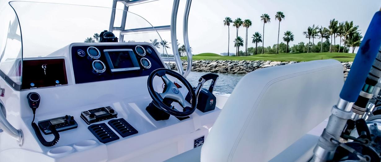 Helm of the Silvercraft 36 CC by Gulf Craft, United Arab Emirates