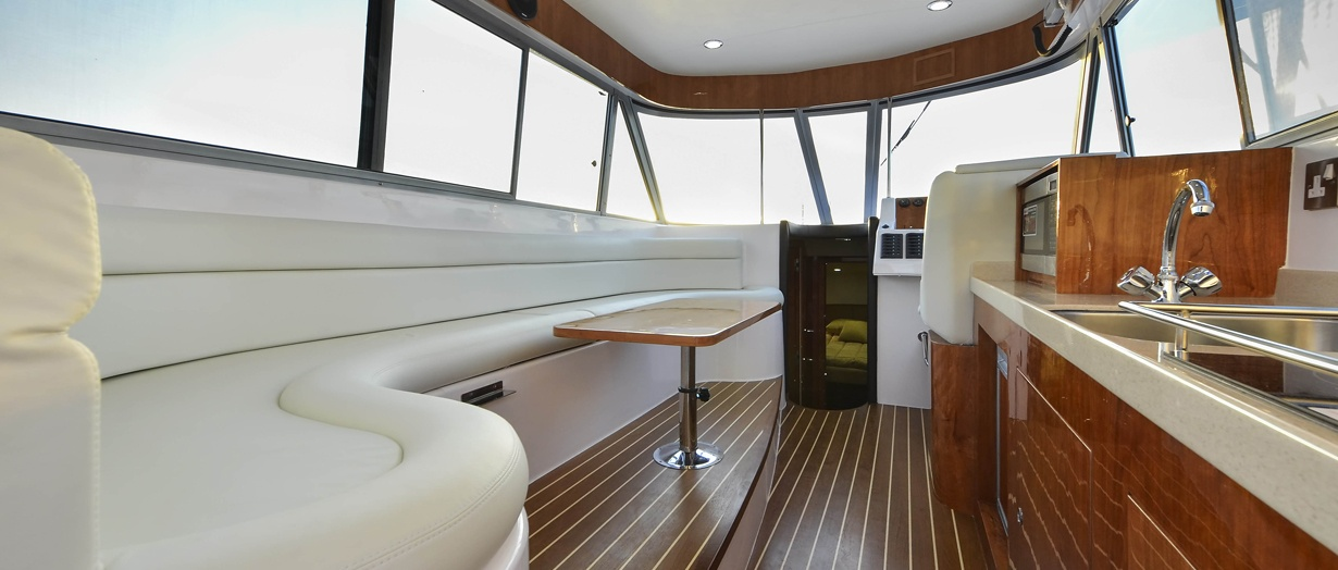 Saloon aboard the Silvercraft 40 by Gulf Craft
