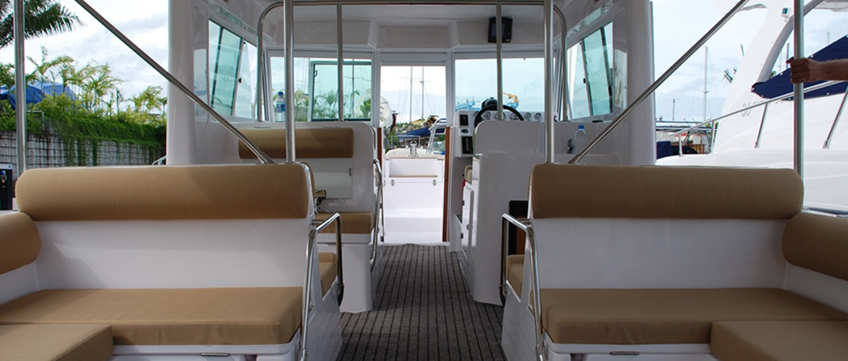 Seating area aboard the Touring 36 by Gulf Craft, UAE