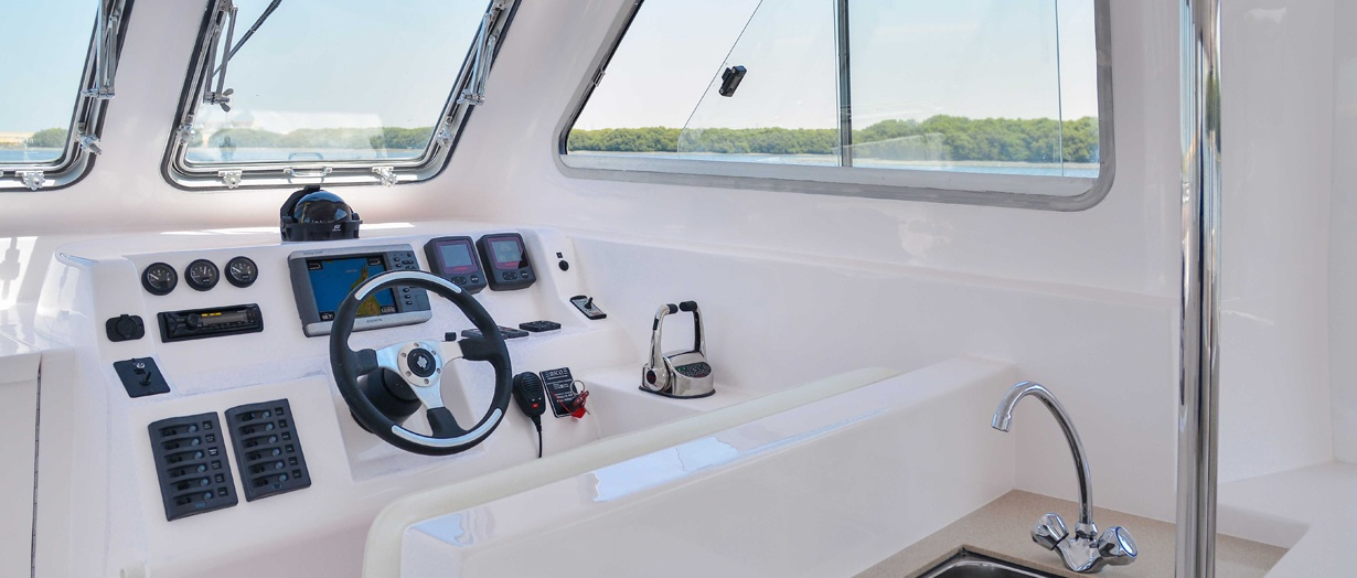 Helm aboard the Touring 40, Gulf Craft, UAE